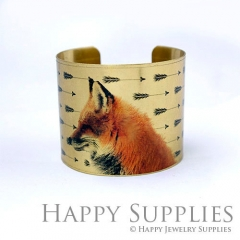 1pcs Fox Handmade Photo Brass Cuff Bracelet PBC098