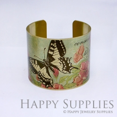 1pcs Butterfly Flower Handmade Photo Brass Cuff Bracelet PBC008