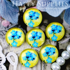 10pcs 12mm Blue Flower Handmade Photo Glass Cabochon GC12-320