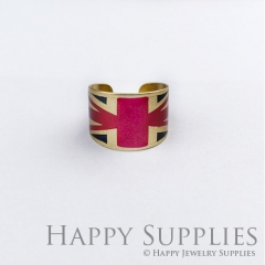 1pcs National flag Handmade Photo Brass Ring PR072