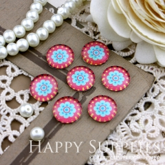 10pcs 12mm Flower Handmade Photo Glass Cabochon GC12-157