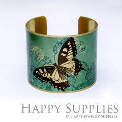 1pcs Butterfly Flower Handmade Photo Brass Cuff Bracelet PBC022
