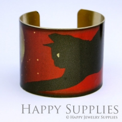 1pcs Cat Moon Handmade Photo Brass Cuff Bracelet PBC052