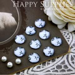 10pcs 12mm Tongue woman Handmade Photo Glass Cabochon GC12-115