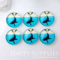 10pcs 12mm Whale Ocean Blue Handmade Photo Glass Cabochon GC12-1016