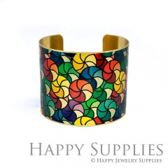 1pcs Flower Color Handmade Photo Brass Cuff Bracelet PBC128