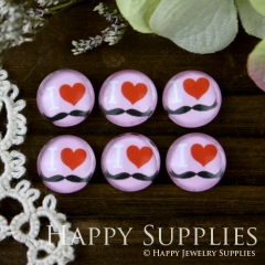 10pcs 12mm I LOVE Heart Handmade Photo Glass Cabochon GC12-030