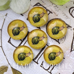10pcs 12mm Yellow Snail Handmade Photo Glass Cabochon GC12-1184