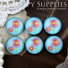 10pcs 12mm Flower Handmade Photo Glass Cabochon GC12-812