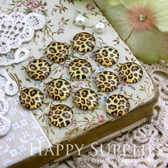 10pcs 12mm Leopard Grain Handmade Photo Glass Cabochon GC12-116