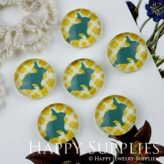 10pcs 12mm Rabbit Handmade Photo Glass Cabochon GC12-010
