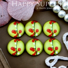 10pcs 12mm Flower Tree Handmade Photo Glass Cabochon GC12-516
