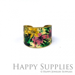 1pcs Flower Handmade Photo Brass Ring PR115