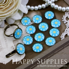 10pcs 12mm Flower Handmade Photo Glass Cabochon GC12-151