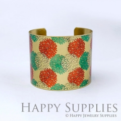 1pcs Flower Handmade Photo Brass Cuff Bracelet PBC099