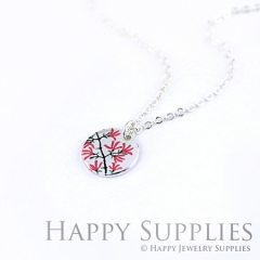 6pcs Red Flower 925 Silver Plated Brass Charm Earring Necklace SY042