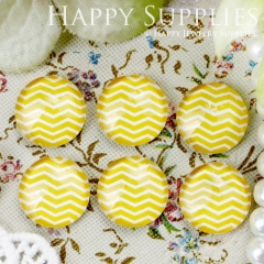 10pcs 12mm Yellow Curve Stripe Handmade Photo Glass Cabochon GC12-342