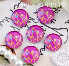 10pcs 12mm Tree Pink Handmade Photo Glass Cabochon GC12-365