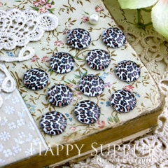 10pcs 12mm Leopard grain Handmade Photo Glass Cabochon GC12-117