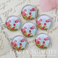 10pcs 12mm Flower Handmade Photo Glass Cabochon GC12-1144