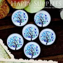 10pcs 12mm Tree Blue Handmade Photo Glass Cabochon GC12-702