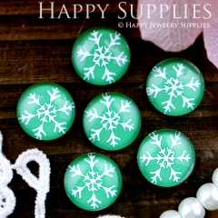 10pcs 12mm Snowflake Handmade Photo Glass Cabochon GC12-312