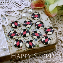 10pcs 12mm Red Black White plaid Handmade Photo Glass Cabochon GC12-140