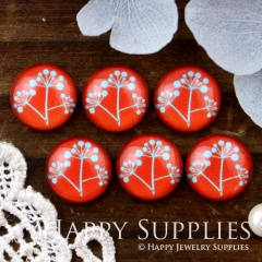 10pcs 12mm Flower Red Handmade Photo Glass Cabochon GC12-512