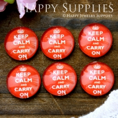 10pcs 12mm Red Keep Calm Carry On Handmade Photo Glass Cabochon GC12-596