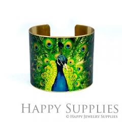 1pcs Peacock Handmade Photo Brass Cuff Bracelet PBC120