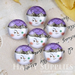 10pcs 12mm Lovely doll Handmade Photo Glass Cabochon GC12-1192