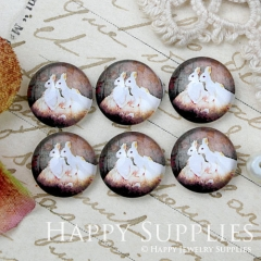 10pcs 12mm Rabbit Handmade Photo Glass Cabochon GC12-1023