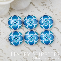10pcs 12mm Flower Blue Handmade Photo Glass Cabochon GC12-1046