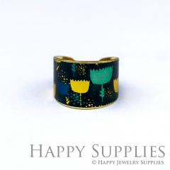 1pcs Flower Handmade Photo Brass Ring PR130