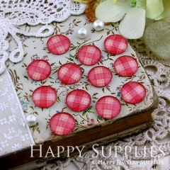 10pcs 12mm Red plaid Handmade Photo Glass Cabochon GC12-133