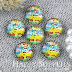 10pcs 12mm Colorful Dots Handmade Photo Glass Cabochon GC12-1217