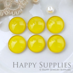 10pcs 12mm Yellow Handmade Photo Glass Cabochon GC12-1058