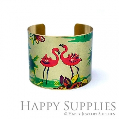 1pcs Red-crowned crane Handmade Photo Brass Cuff Bracelet PBC095