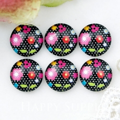 10pcs 12mm Flower Handmade Photo Glass Cabochon GC12-1028
