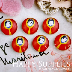 10pcs 12mm Snow White Handmade Photo Glass Cabochon GC12-281