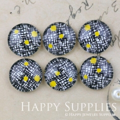 10pcs 12mm Geometric Black White Handmade Photo Glass Cabochon GC12-1181
