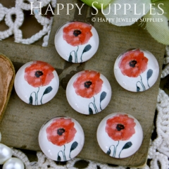 10pcs 12mm Flower Red Handmade Photo Glass Cabochon GC12-234