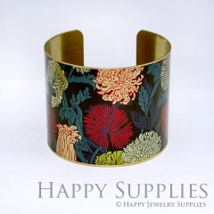 1pcs Chrysanthemum Flower Handmade Photo Brass Cuff Bracelet PBC014