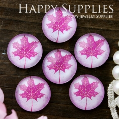 10pcs 12mm Maple Leaf Handmade Photo Glass Cabochon GC12-616