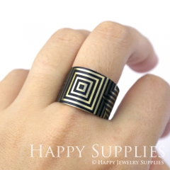 1pcs Square Handmade Photo Brass Ring PR058