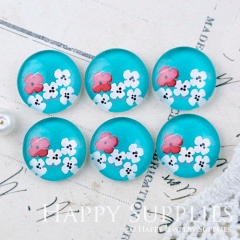 10pcs 12mm Flower Blue Handmade Photo Glass Cabochon GC12-1155