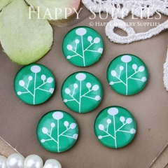 10pcs 12mm Tree Green Handmade Photo Glass Cabochon GC12-507