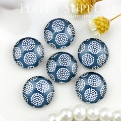 10pcs 12mm Dot Flower Blue Handmade Photo Glass Cabochon GC12-808