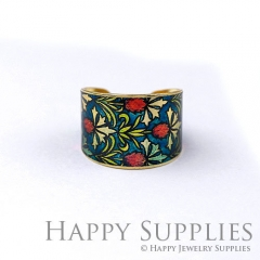 1pcs Flower Handmade Photo Brass Ring PR122
