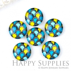 10pcs 12mm Colorful Print Handmade Photo Glass Cabochon GC12-1275